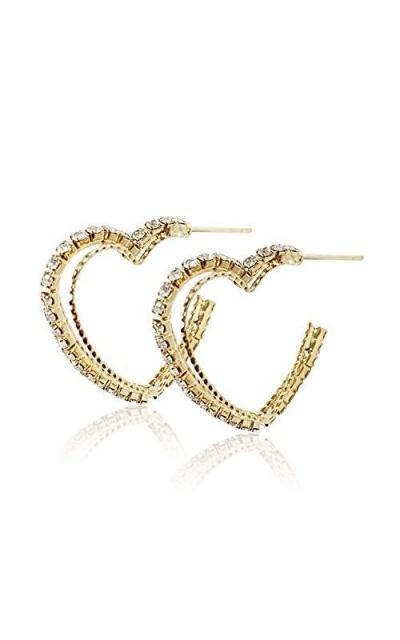 S tonn 18k Gold Plated Cubic Zirconia Hoop Heart Earrings