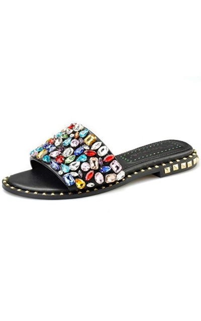 Pinkpalms Multi Embellished Crystals Shoes