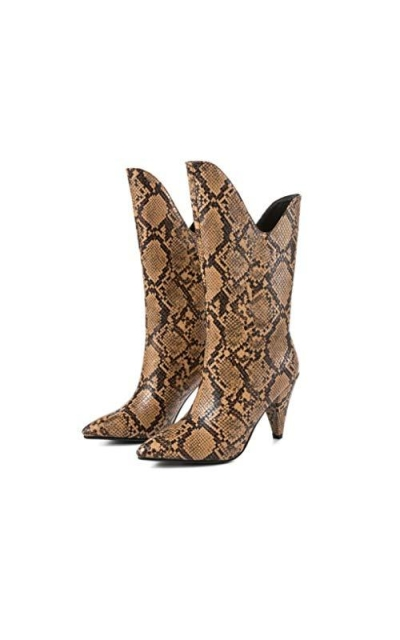 Snake High Heel Mid Calf Short Pointed Boots