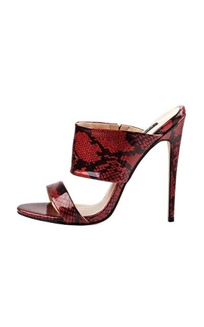 Onlymaker High Heel Mules Slide Snake Sandals