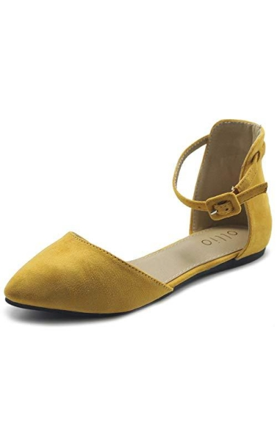 Ollio  D'Orsay Pointed Toe Ballet Flats