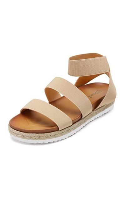 DREAM PAIRS Nude Espadrille Sandals
