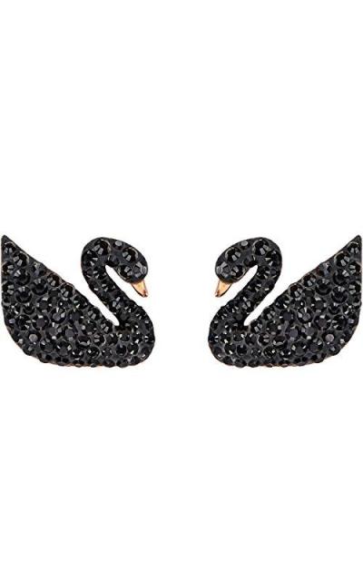 ICONIC SWAN black perforated earrings