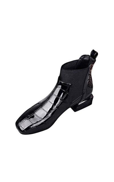 b316d4979a6 JJLIKER Square Toe Patent Croc Booties