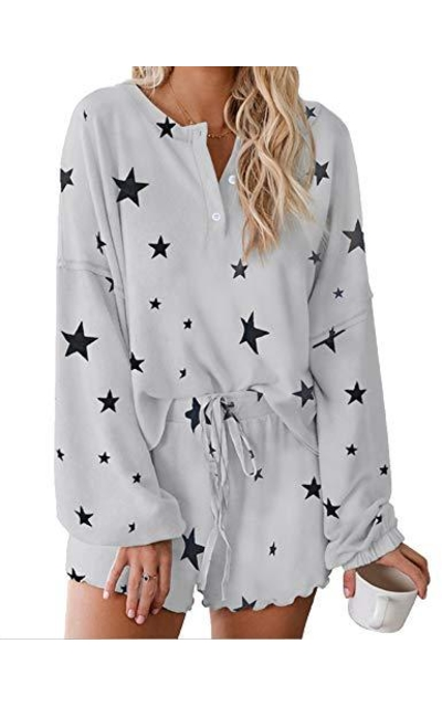 Messic Star Printed  2 Piece Pajamas Set