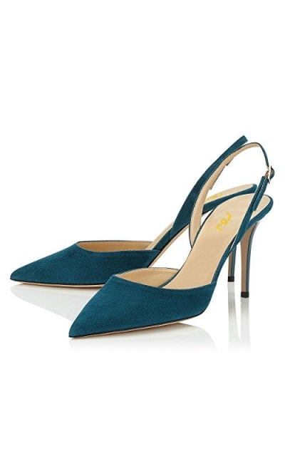 FSJ Pointed Toe Slingback Pumps