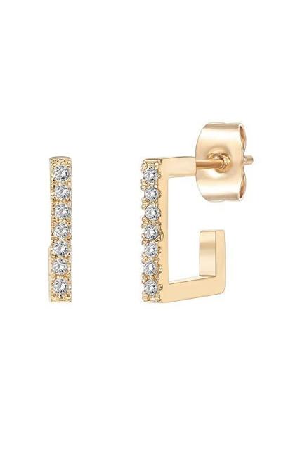 PAVOI 14K Gold Plated 925 Sterling Silver Post Square Huggie Hoop Earrings