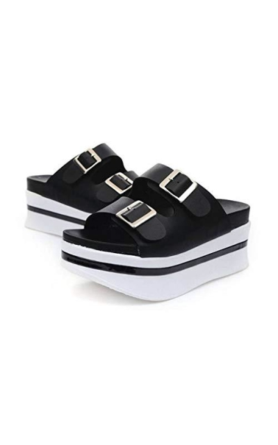 EpicStep Black Open Toe Cushioned Platform Sandals