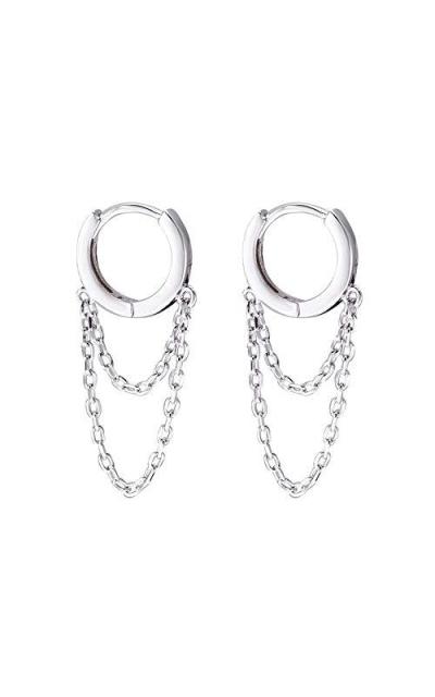 Tassel Chain Drop Dangle Small Hoop Earrings