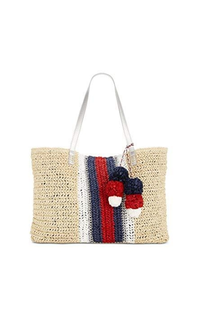 INC International Concepts I.N.C. Bettsi Stripe Straw Tote