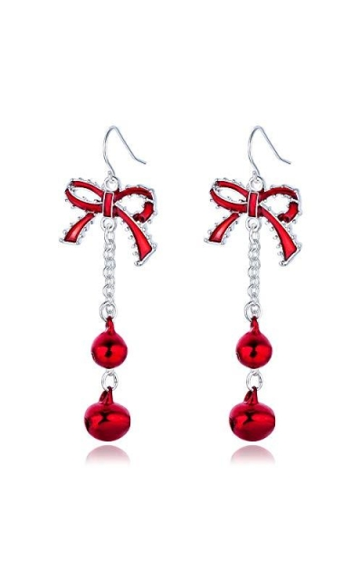 Lightweight Christmas Red Bow Knot Earrings