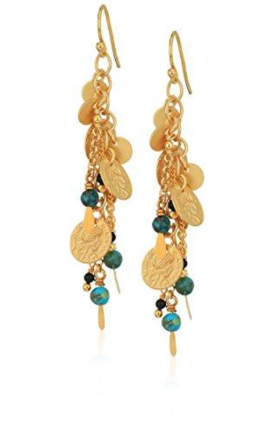 Chan Luu Compressed Turquoise Coin Drop Earrings
