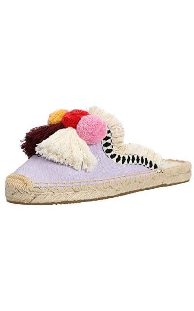 U-lite Comfort Tassel & Fluffy Ball Embellishment Canvas Mule Shoes Espadrilles