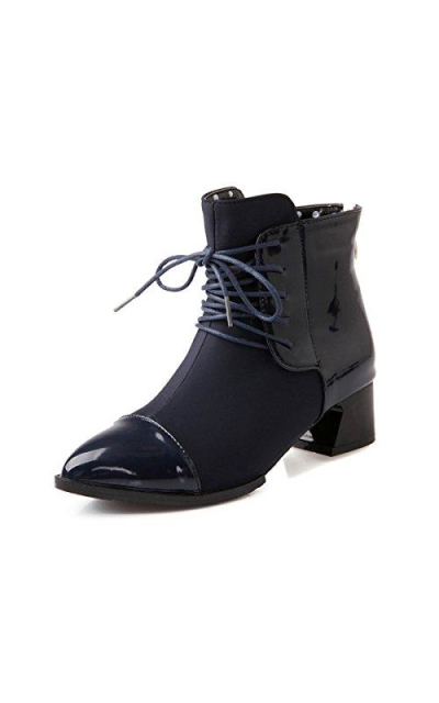Slduv  Patent Mixed Lace Up Ankle Booties