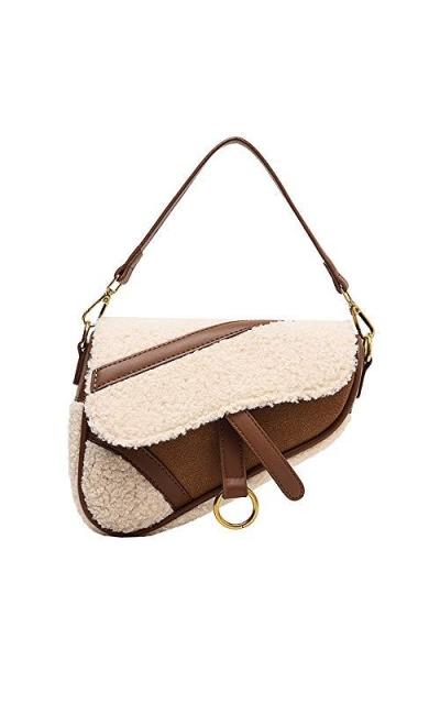 Barabum Retro Classic Trendy D-shape Saddle Clutch Shoulder Bag