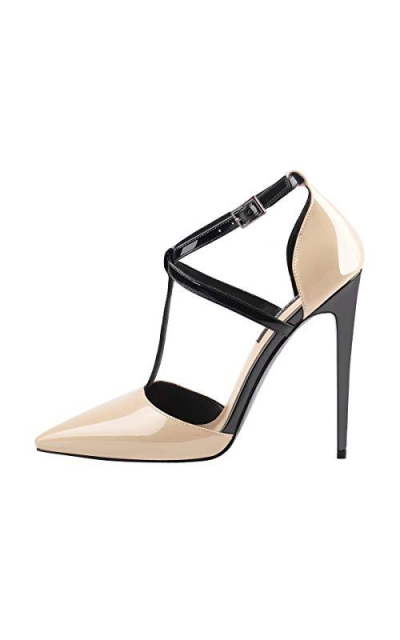 Onlymaker Pointed Toe T-Strap Stiletto High Heel Pumps