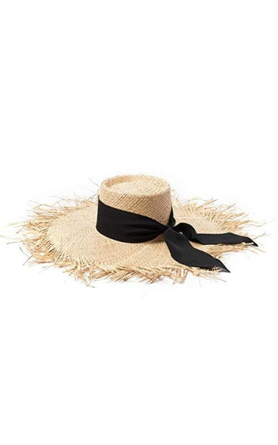 Sun Hat Frayed Brim Uv Protect Raffia Straw For Beach