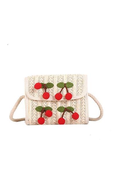 Beach Straw Woven Cherry Handbag