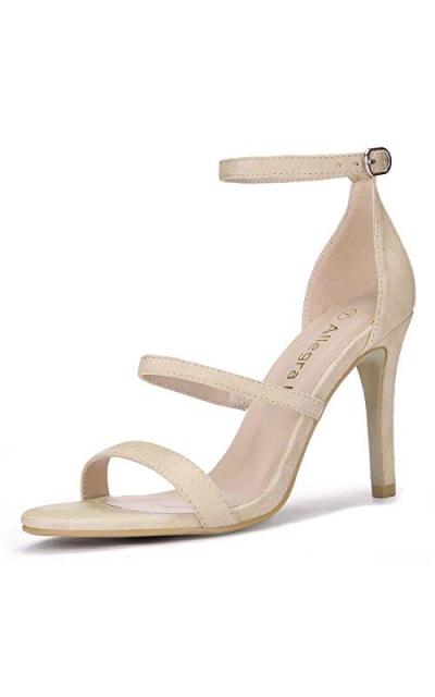 Allegra K Open Toe Triple Straps Stiletto Heel Sandals