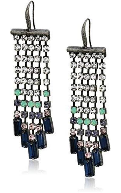 Steve Madden  Multi Color Casted Stone Chandelier Earrings