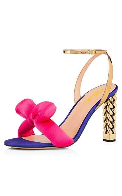 FSJ Gold Metal Chain Bow Sandals
