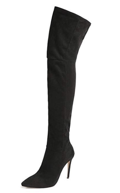 Shoe'N Tale Thigh High Over The Knee Stiletto Heel Pointy Toe Stretch Boots