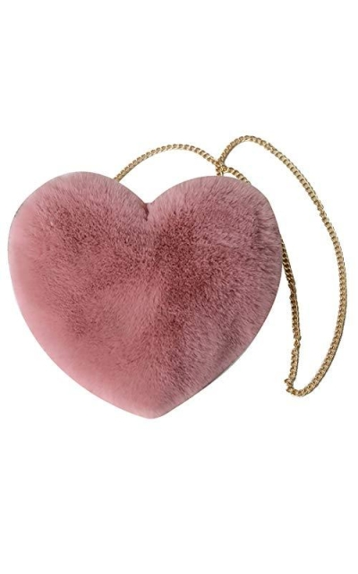 QZUnique Heart Shaped Faux Fur Crossbody Bag