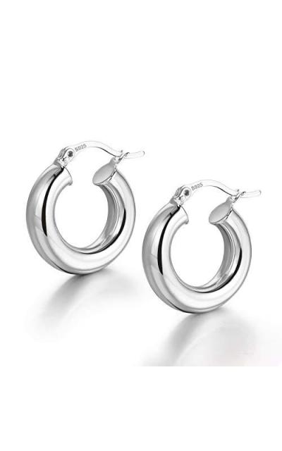 LANCHARMED Chunky Silver Plated Hoop Earrings