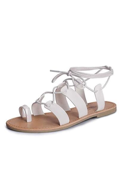 SANDALUP Tie Up Flat Gladiator Sandals
