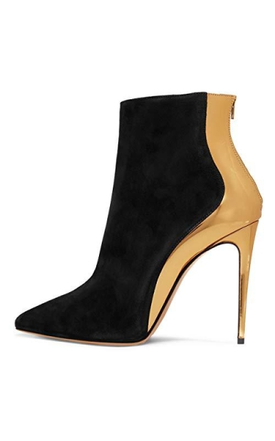FSJ Black-Golden Heel Pumps