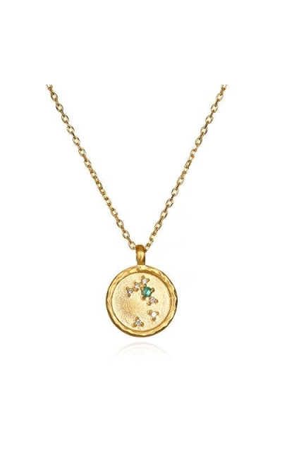 Taurus Constellation Emerald White Topaz Zodiac Necklace