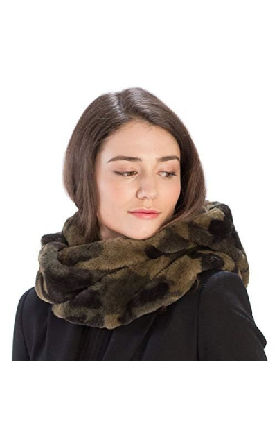 Fashion 21 Soft Faux Fur Infinity Camo Scarf