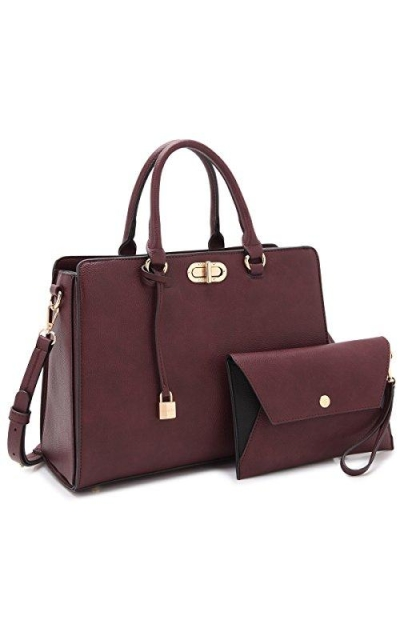 Top Handle Satchel Tote Work Bag with Wallet Wristlet