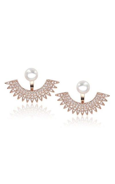 5mm Pearl Stud Front-Back Micropave Jacket Earrings