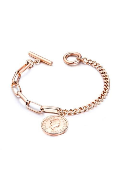 Rose Gold Stainless Steel Link Chain Bracelet