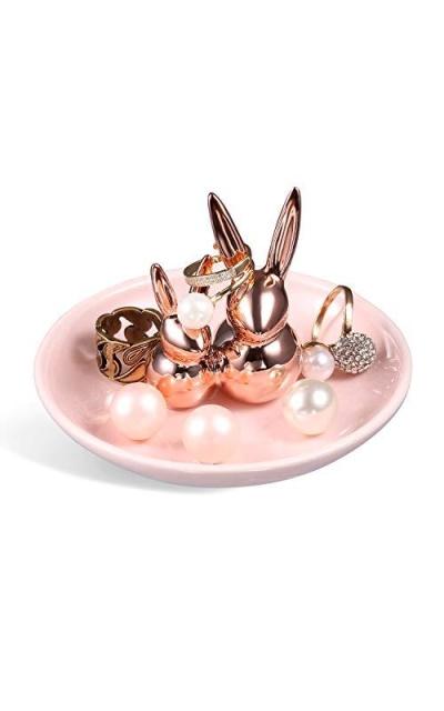 Pair Rabbits Ring Holder Ceramic Dish