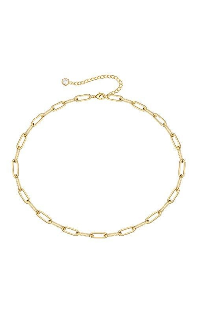 Thick Gold Link Choker Necklace - 14K Gold Link Chain Necklace
