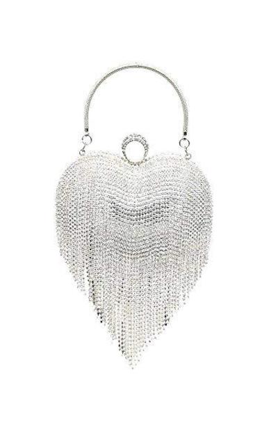 UMREN Luxury Heart Shape Tassel Evening Clutch
