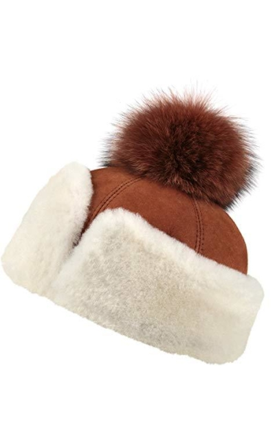 Zavelio Shearling Sheepskin Snap Hat