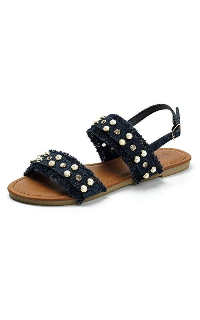 SANDALUP Open Toe Denim Flat Sandals