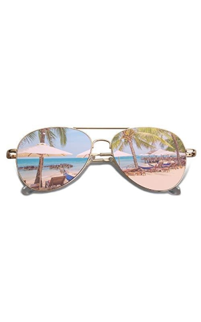SOJOS Classic Aviator Mirrored Flat Lens Sunglasses