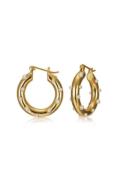 LecAit Gold Plated Earrings Small Hoop Inlaid Pearl Earring