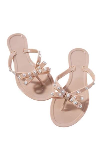 Mtzyoa Stud Bow Flip-Flops Sandals