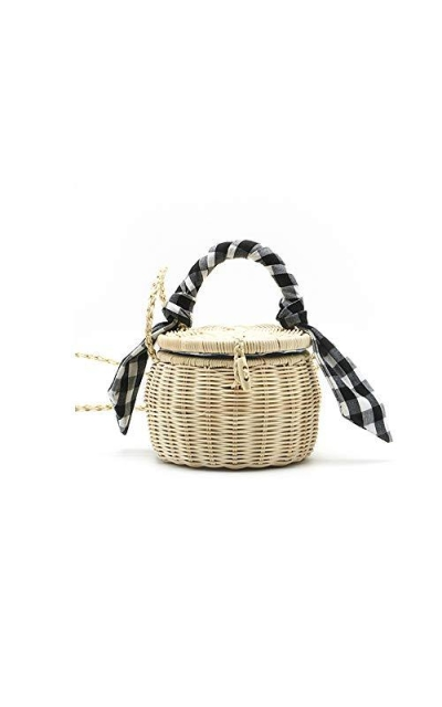 QTKJ Natural Hand-Woven Wicker Round Mini Straw Bag