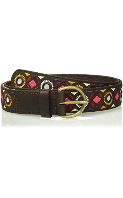 House of Boho Geo Embroidered 100% Leather Belt