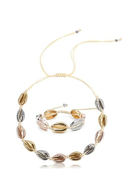 SCIONE 14K Gold Plated Shell Necklace