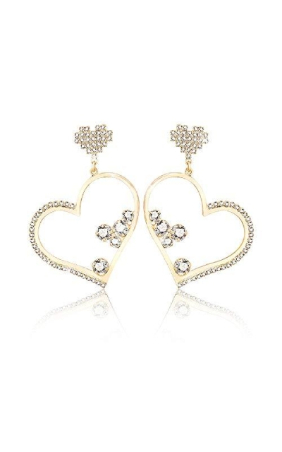 Rhinestone Heart Dangle Earrings