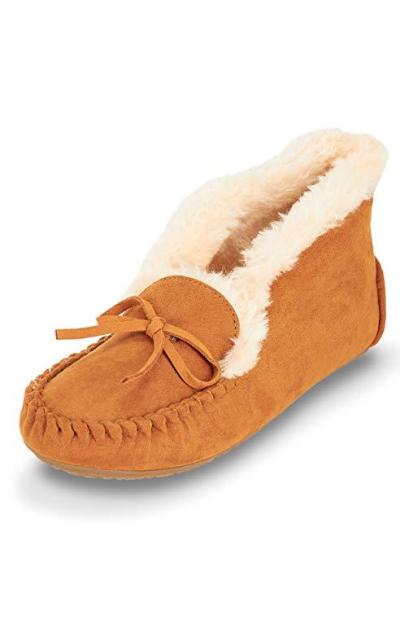 Floopi Moccasin Slipper W/Faux Fur