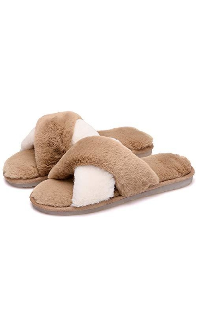 Womens Fluffy Fur Slippers