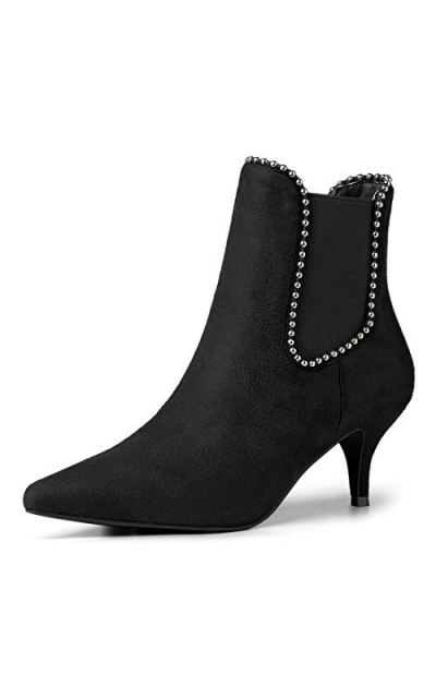 Allegra K Beaded Kitten Heel Ankle Boots